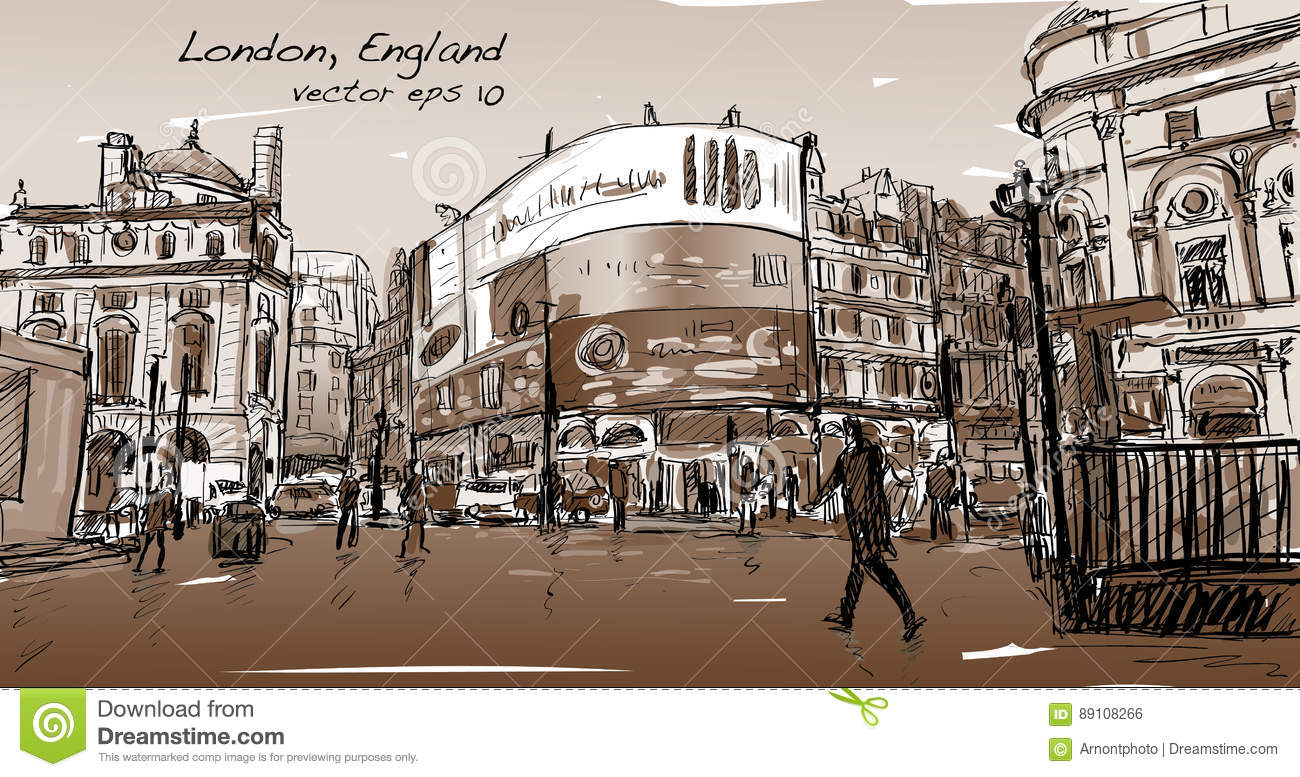 The Line Art Walk London : Cityscape drawing sketch in london england show walk street stock