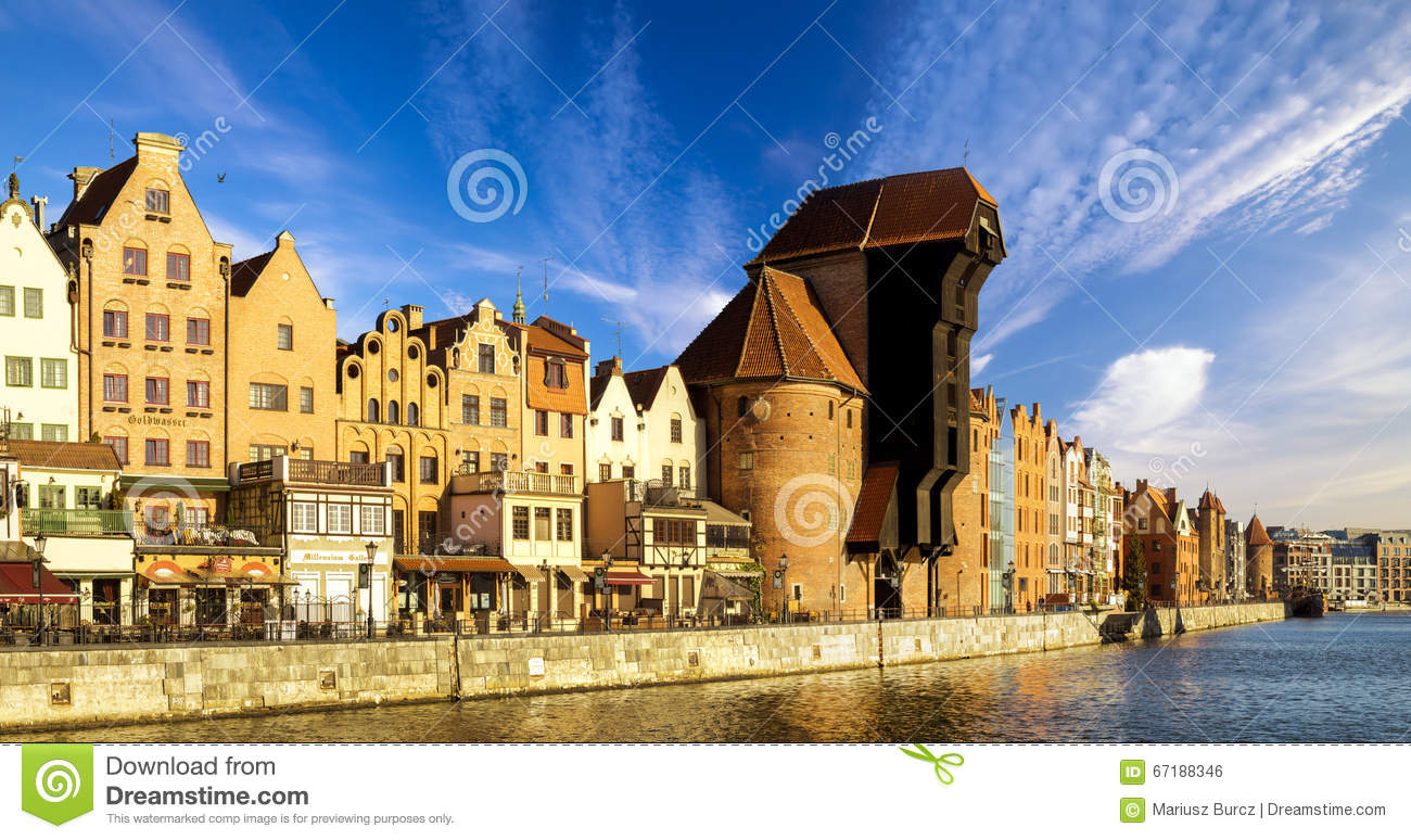 Gdansk Poland August 25 Historic Building On Motlawa River Shore In Gdansk From Poland Editorial