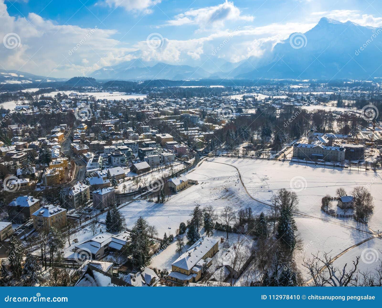 Cityscape landscape salzburg austria blue sky winter season snow