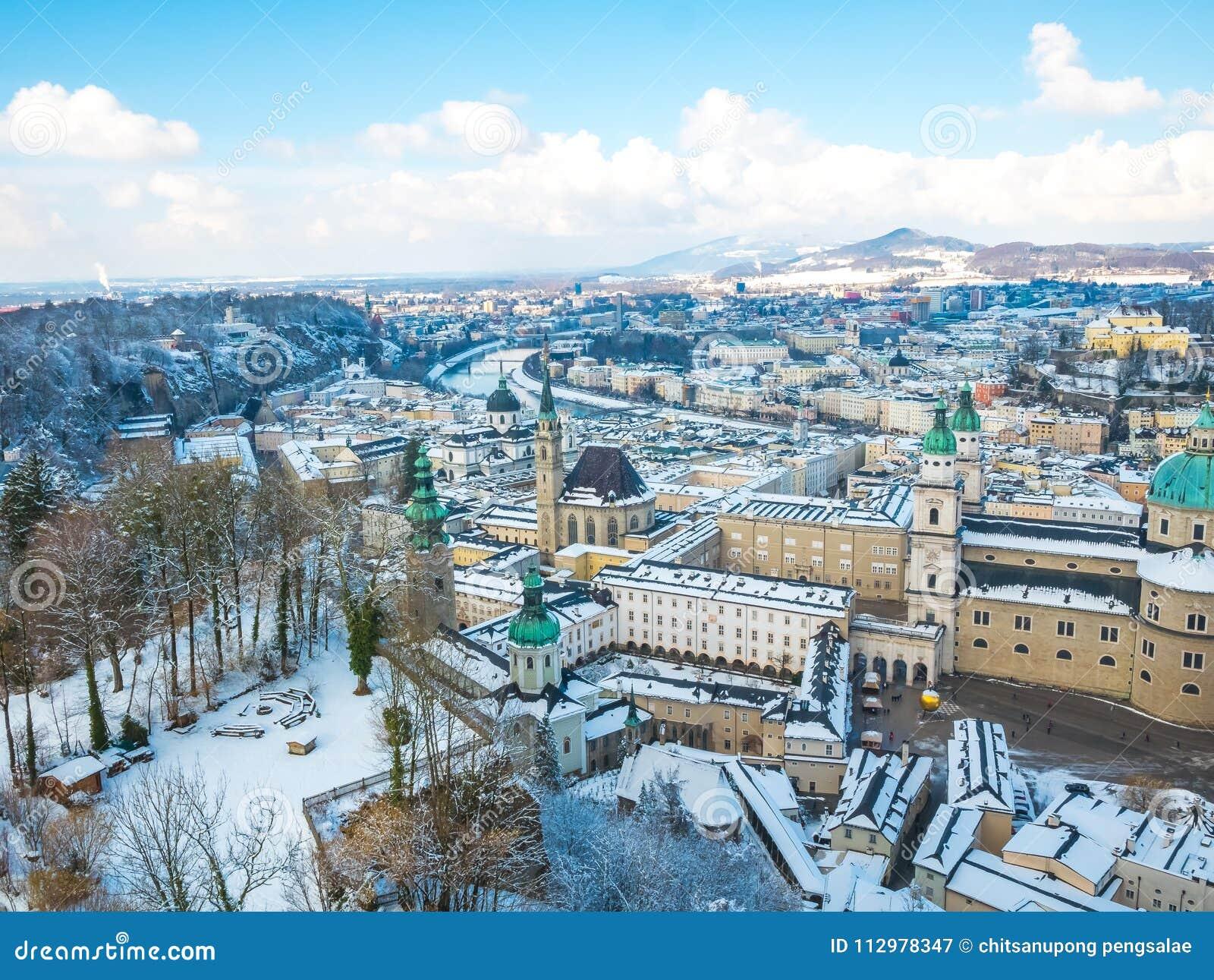 Cityscape landscape salzburg austria blue sky winter season snow moutain