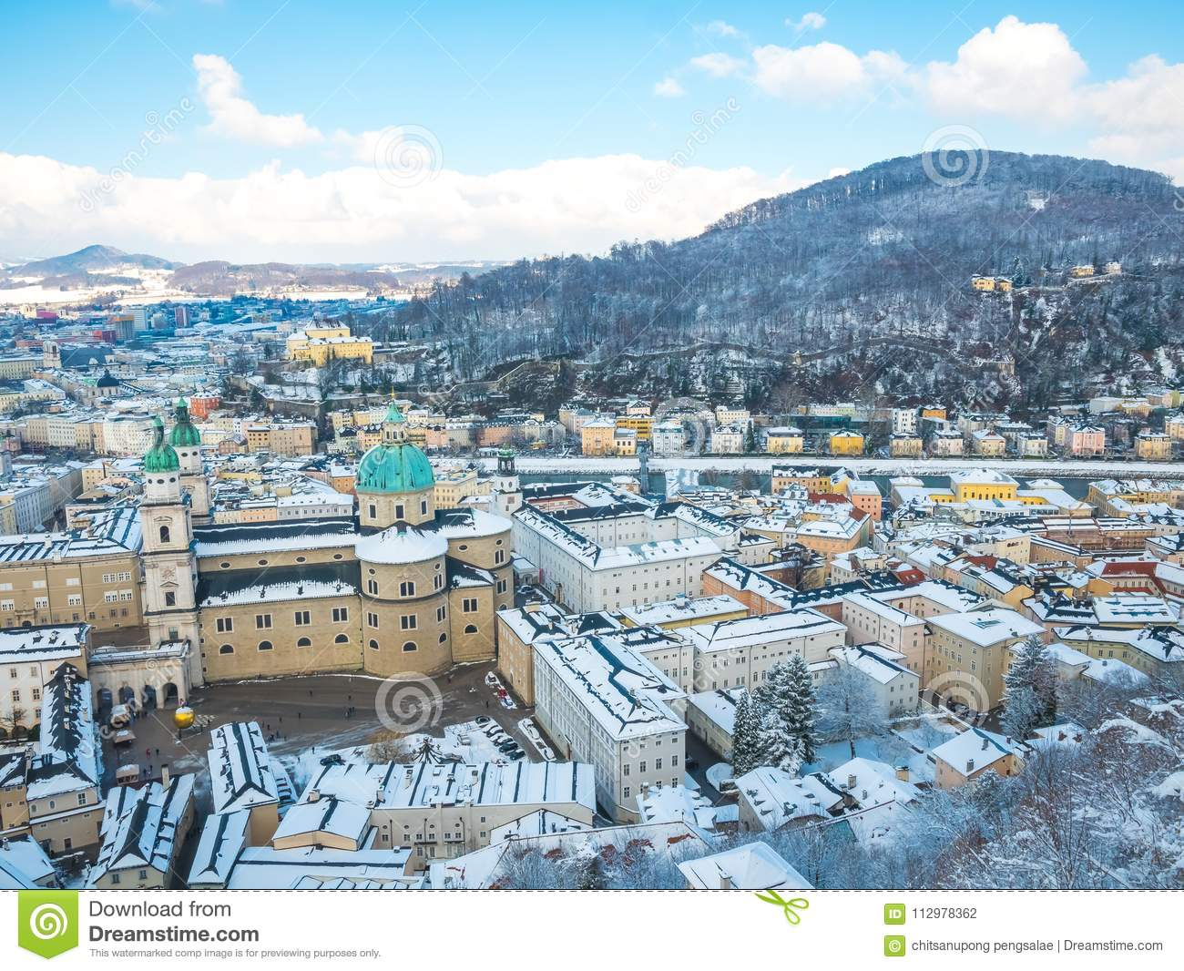 Cityscape landscape salzburg austria blue sky winter season snow moutain