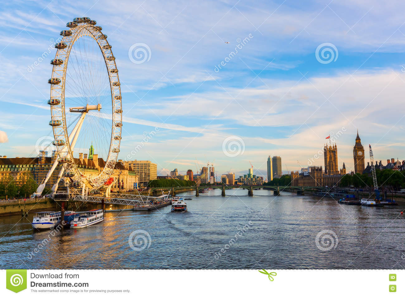 Cityscape of London viewed over the Thames