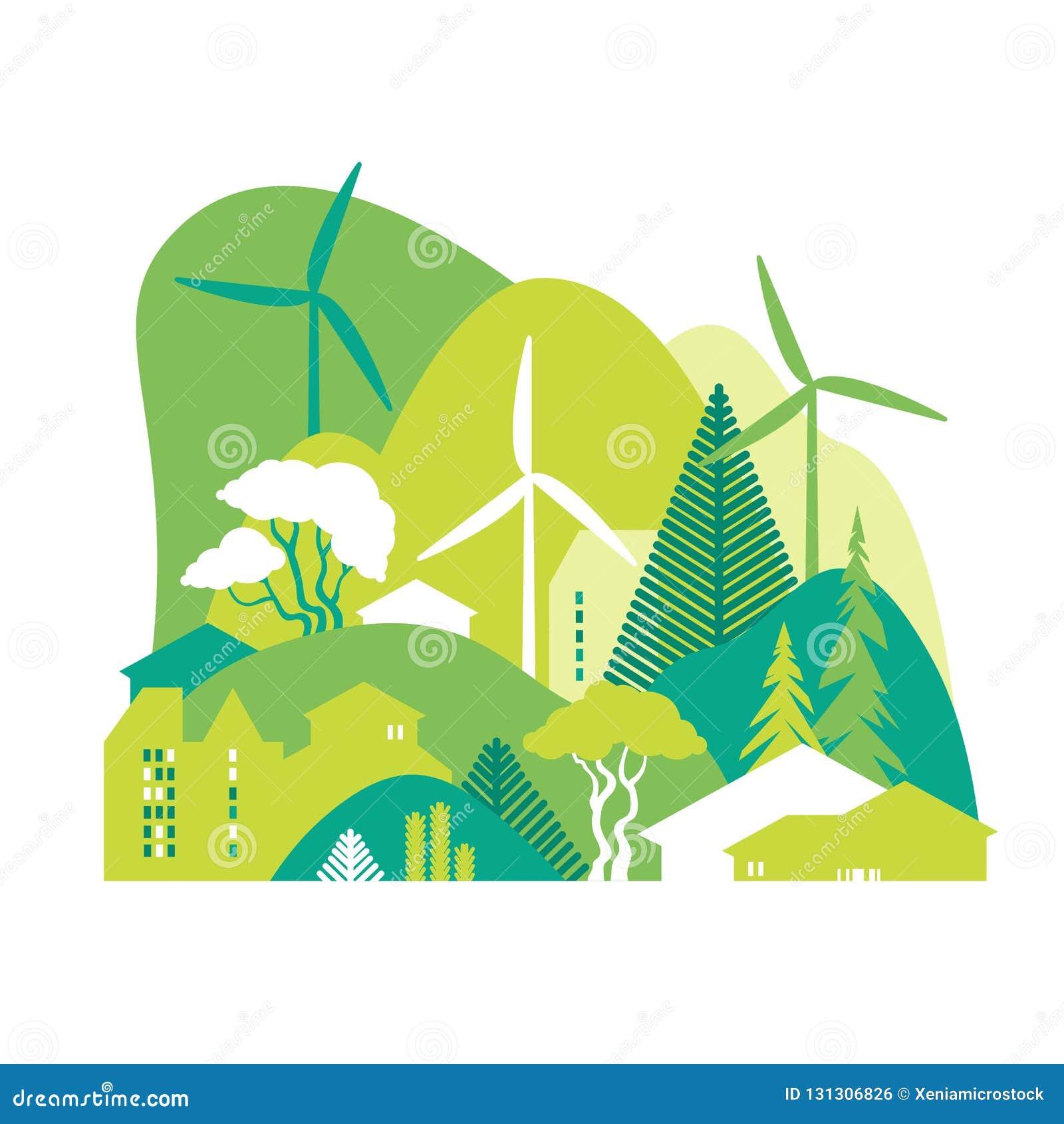 Cityscape met groene heuvels Behoud van het milieu, ecologie, alternatieve energiebronnen