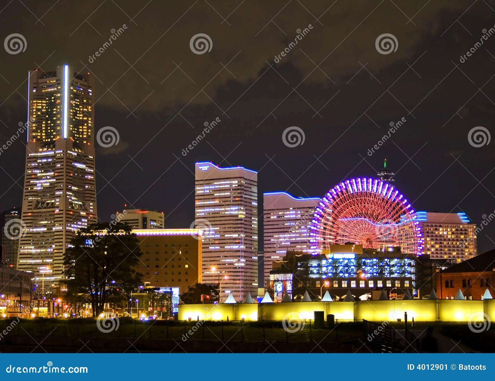 Cityscape nachtscène in Yokohama