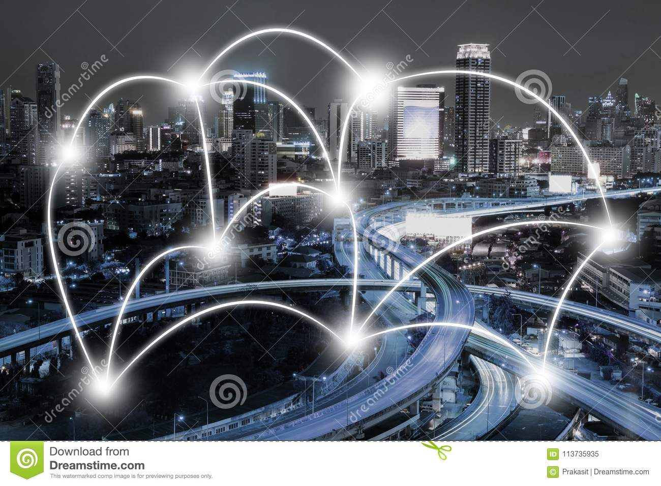 Cityscape and network connection concept in the city at night. B
