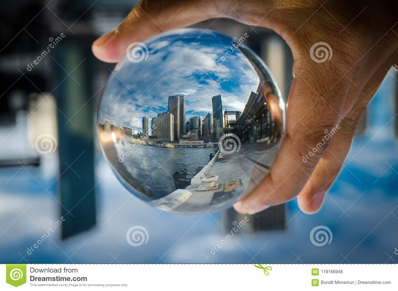 Download Cityscape Photography In A Clear Glass Crystal Ball With Dramatic Clouds Sky. Stock Photo - Image of focus, australia: 119166948