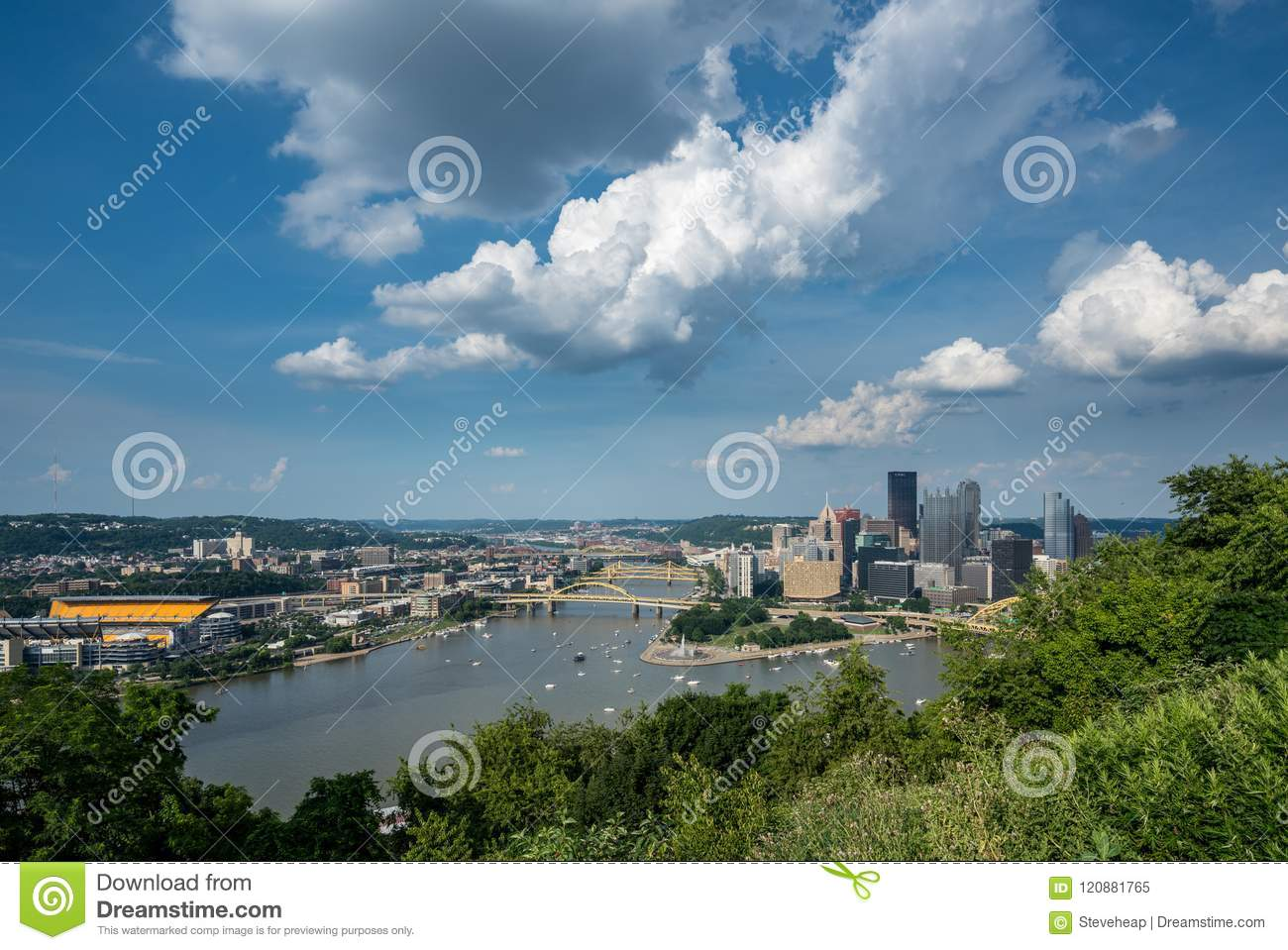 Cityscape of Pittsburgh from Mt Washington overlook