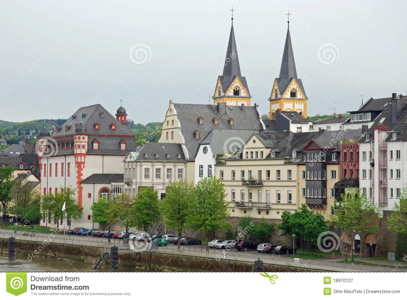 Coblenz, Cityscape from river Moselle, Germany