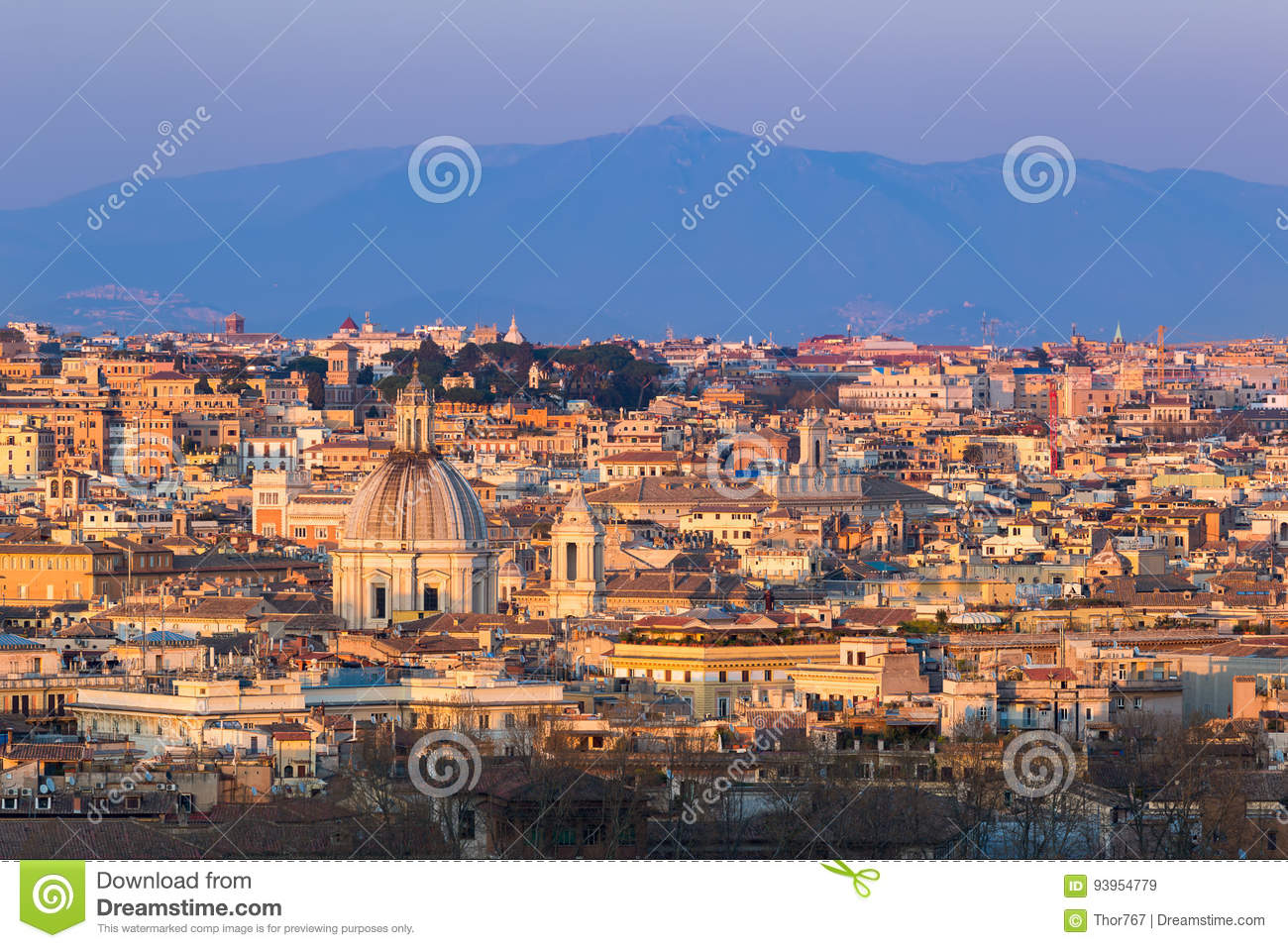Cityscape Of Rome, Italy, At Sunset In Autumn, A View From The ...