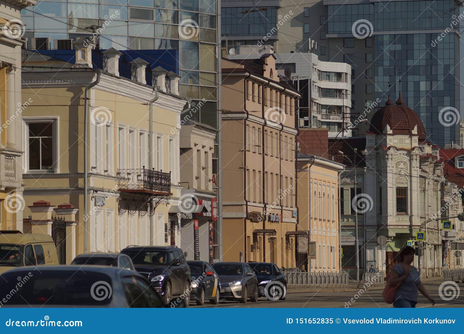 Cityscape Sectie van de straat op 8 Maart van huisnummer 36 aan nummer 28