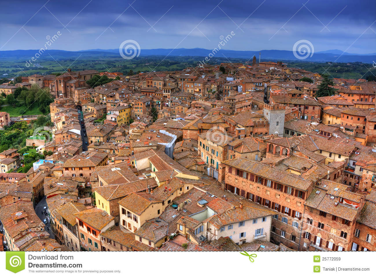 Italian Renaissance Architecture Houses Cityscape Of Siena (to...