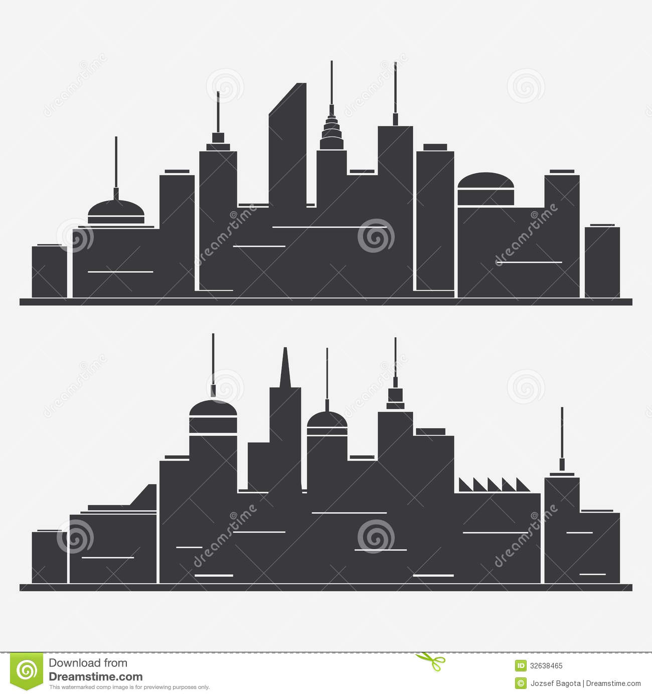 Cityscape Silhouettes Royalty Free Stock Photo
