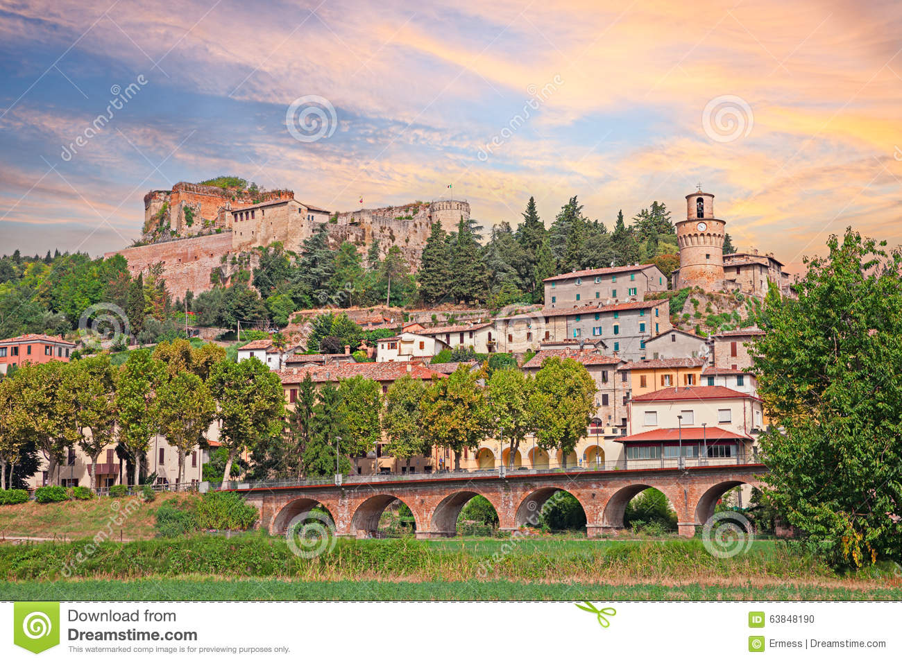 Cityscape of the spa town Castrocaro Terme, Italy