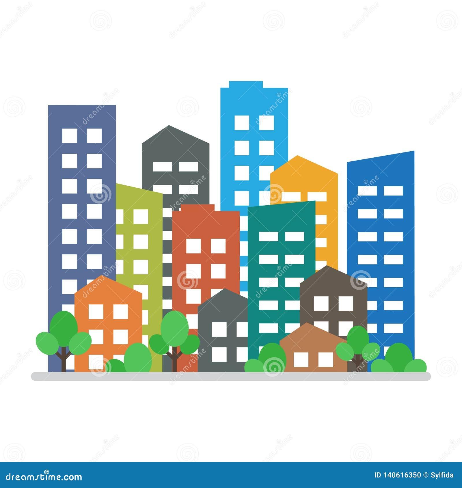 Cityscape Stads moderne gebouwen, het huisvesten district Vector illustratie