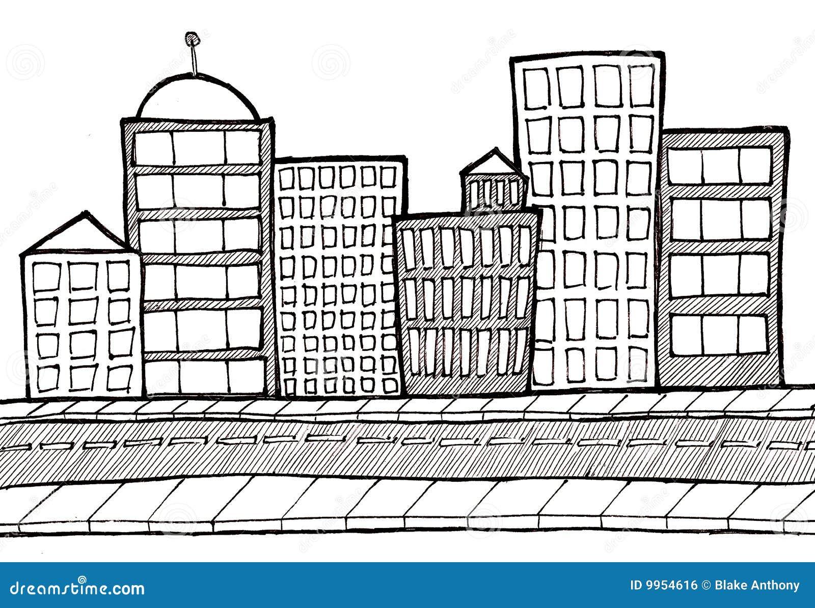 Cityscape Street And Sidewalk Stock Illustration