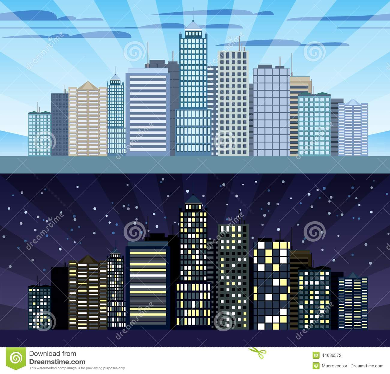 Cityscape tileable border day and night stock vector