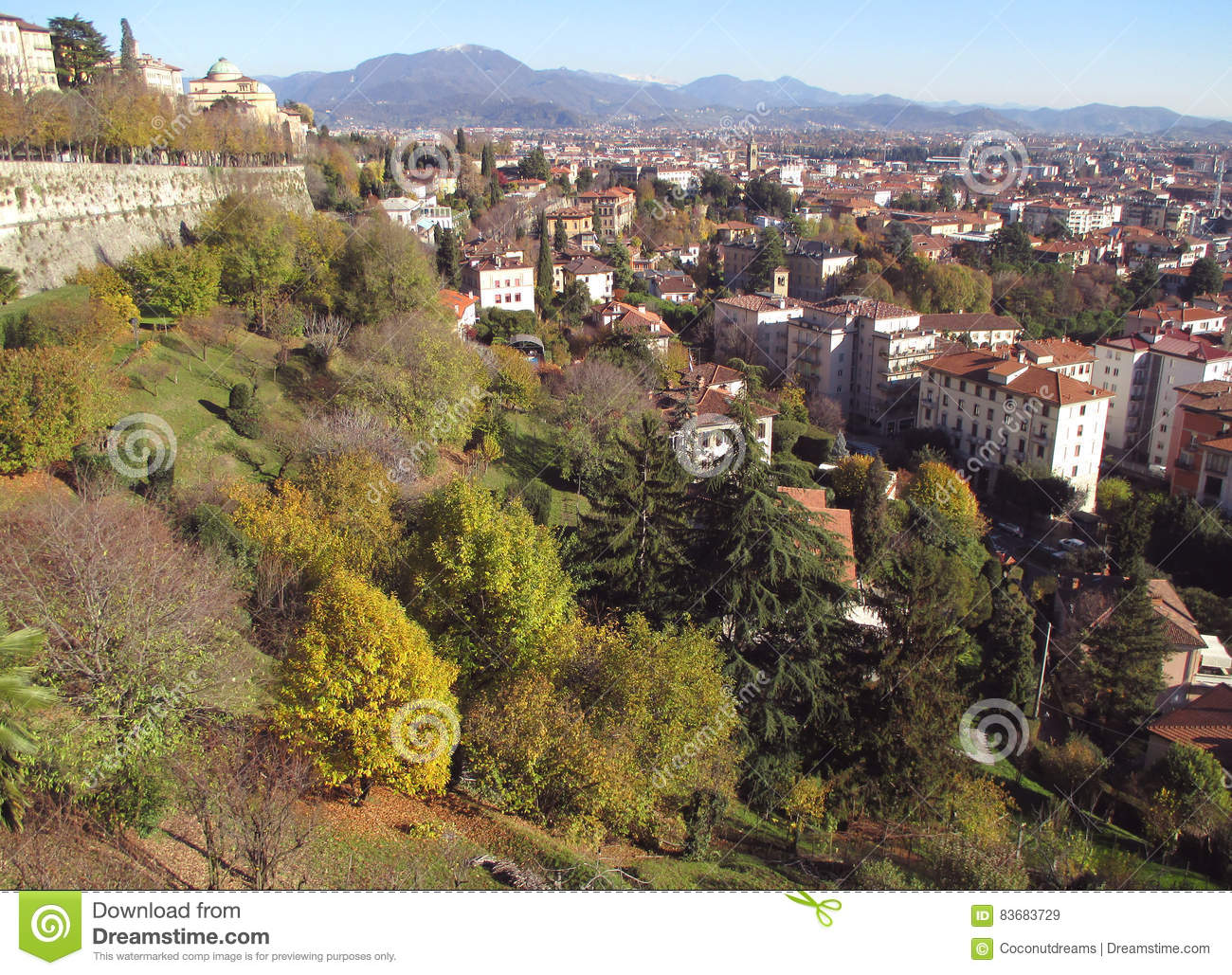 Cityscape of upper town and lower town in autumn sunny day for Bergamo toons