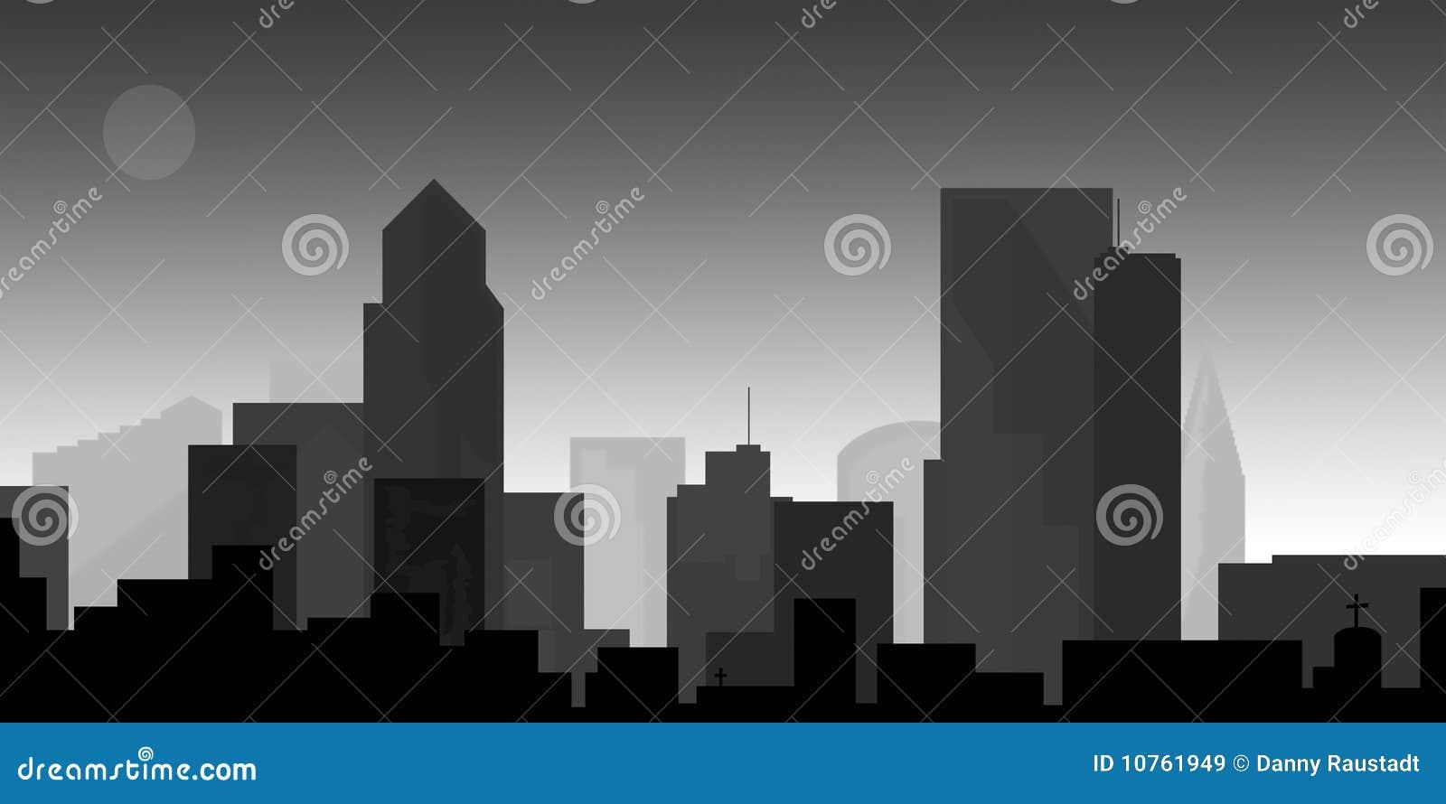 Cityscape van de binnenstad bij schemer