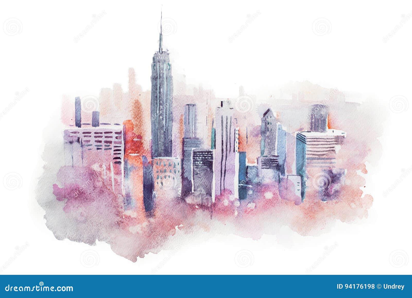 Cityscape van de waterverftekening grote stad de stad in, aquarelle het schilderen