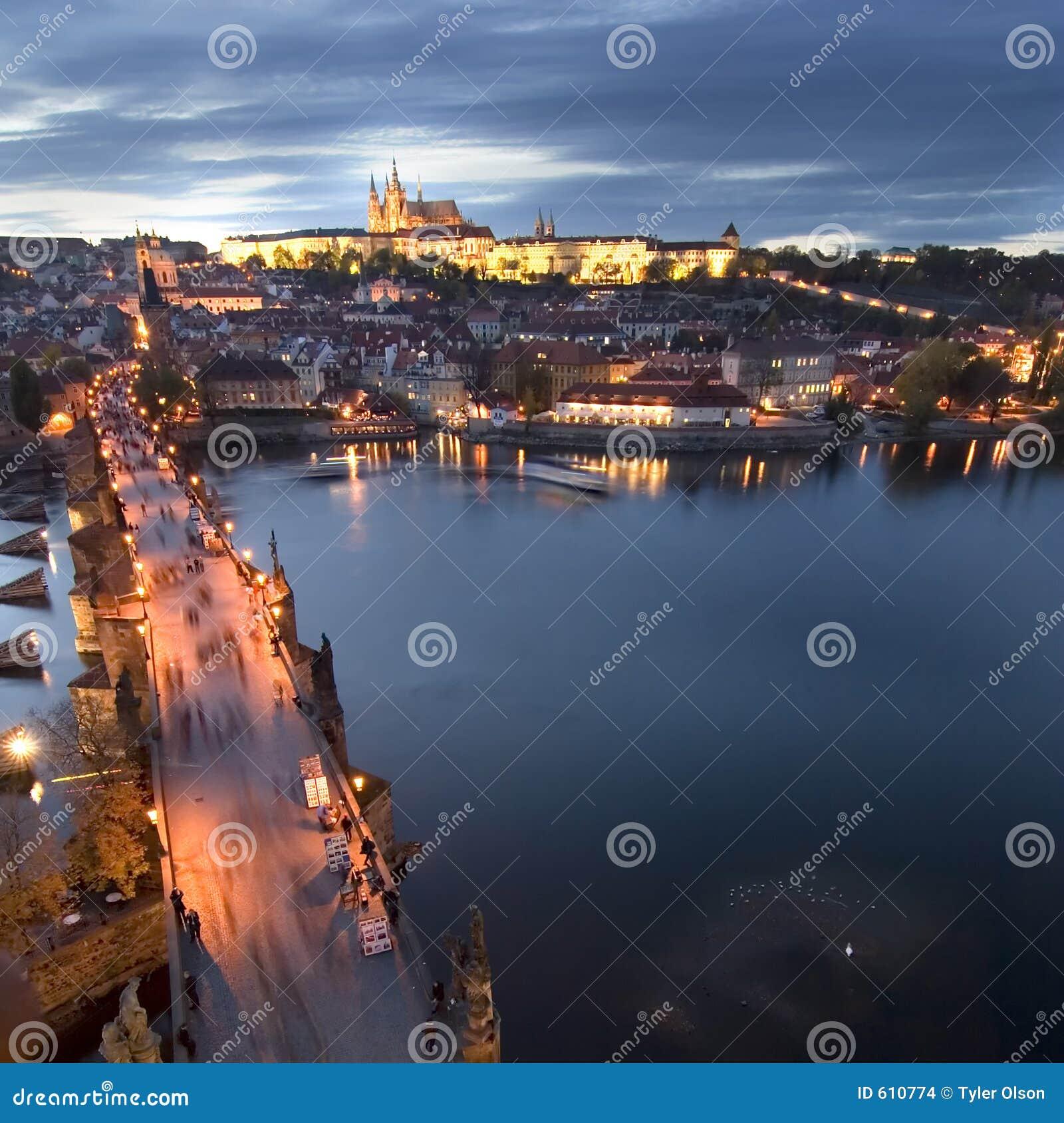 Cityscape van het Kasteel van Praag