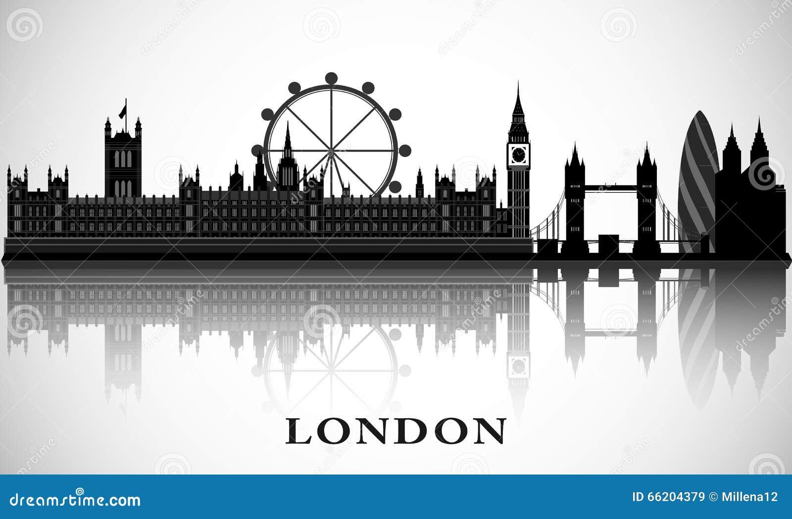 Cityscape van Londen Vectorstadshorizon Het teken van de straat, Bad