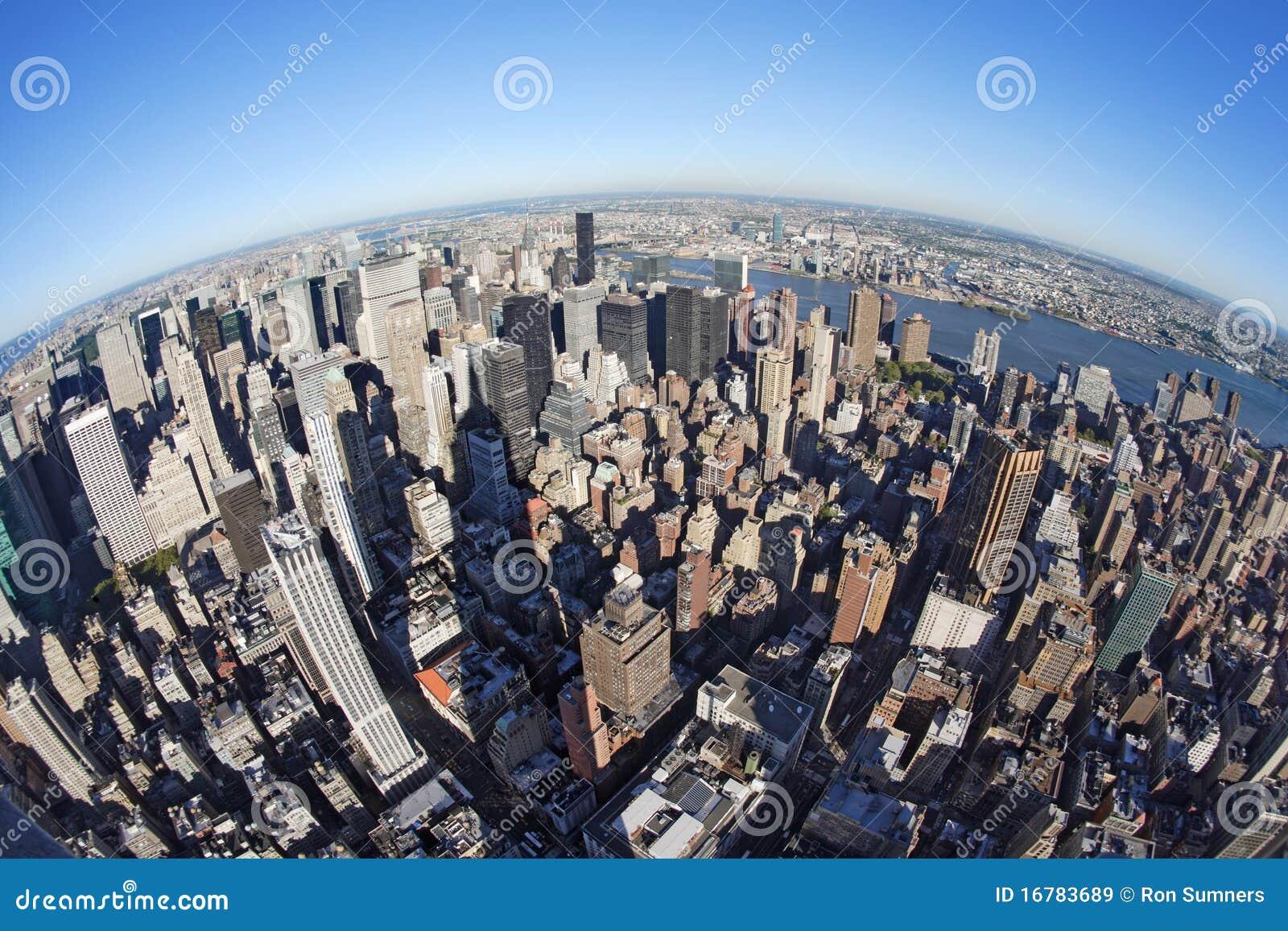 Cityscape van New York met fisheye