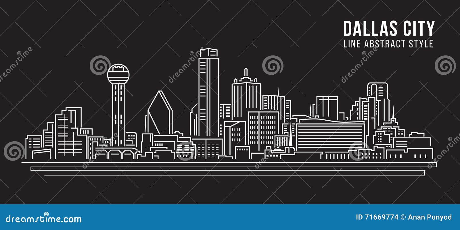 Cityscape Vector de Illustratieontwerp van de Rooilijnkunst - Dallas City
