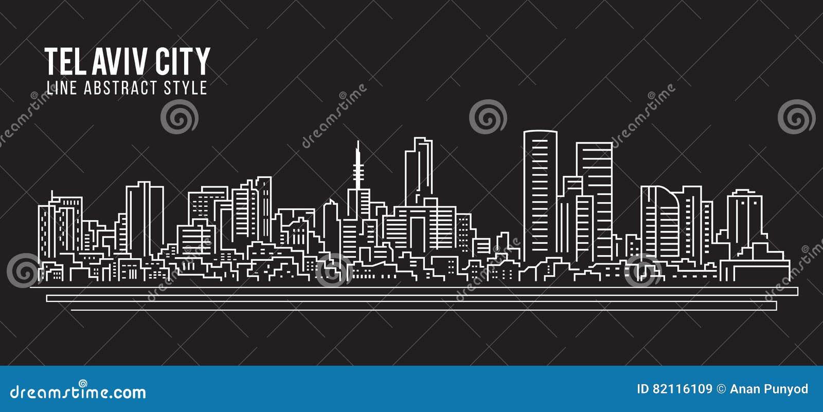 Cityscape Vector de Illustratieontwerp van de Rooilijnkunst - de stad van Tel Aviv