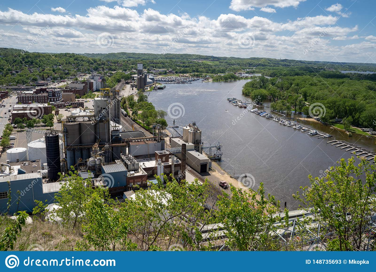 Cityscape View Of Red Wing Minnesota, Featuring The ...