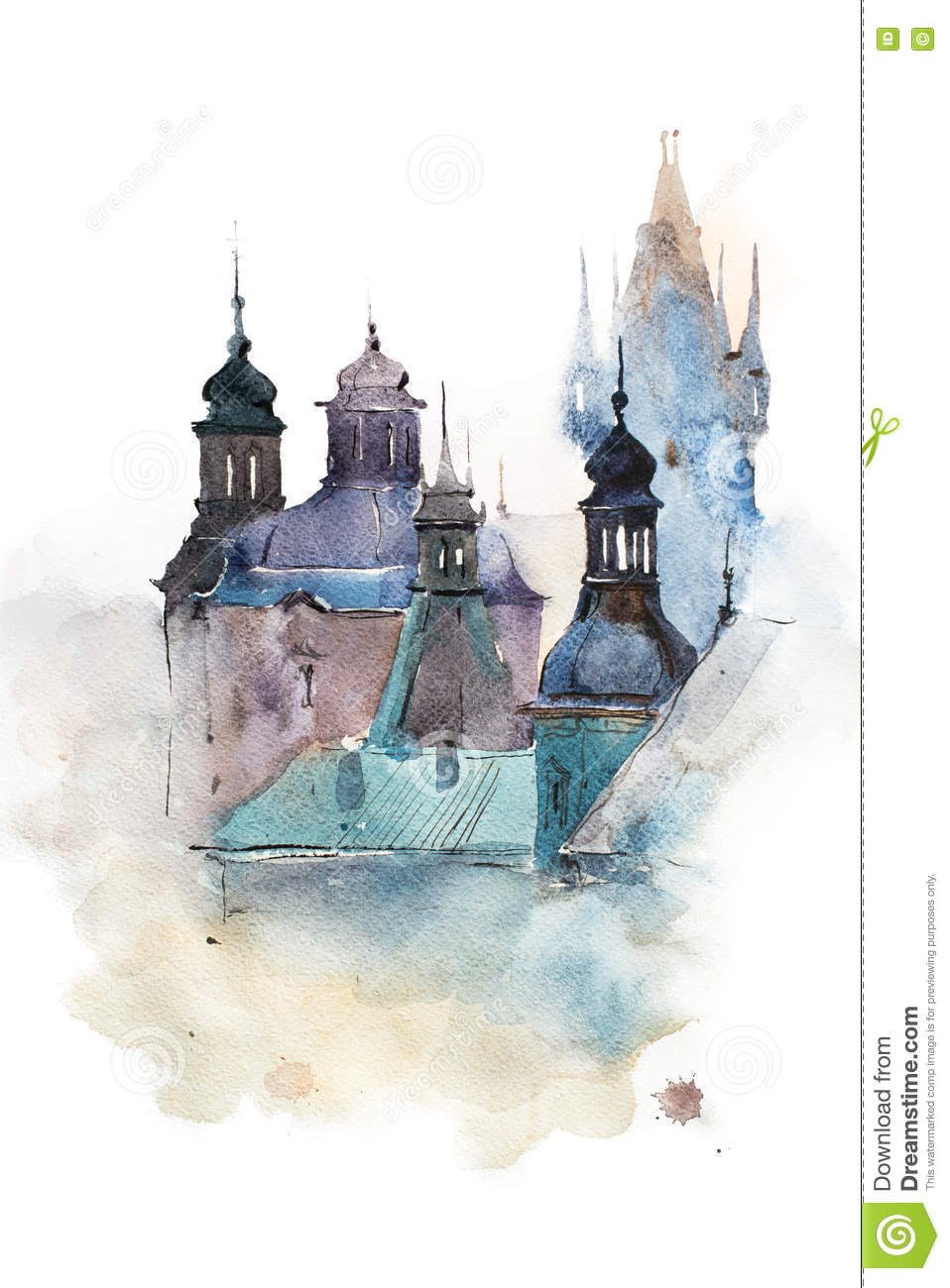 Image Aquarelle cityscape watercolor drawing, hand drawn aquarelle painting. stock