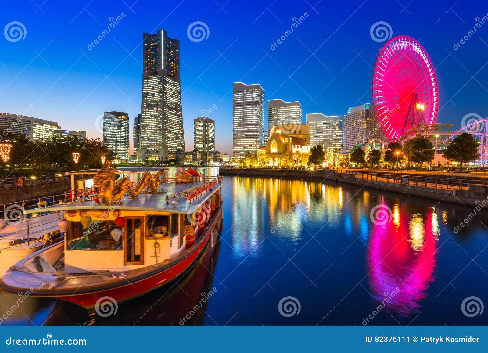 Cityscape of Yokohama city at dusk