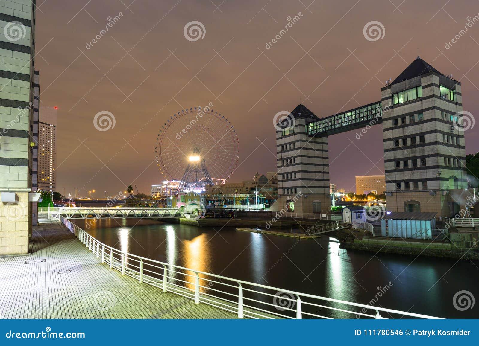 Cityscape of Yokohama city at night
