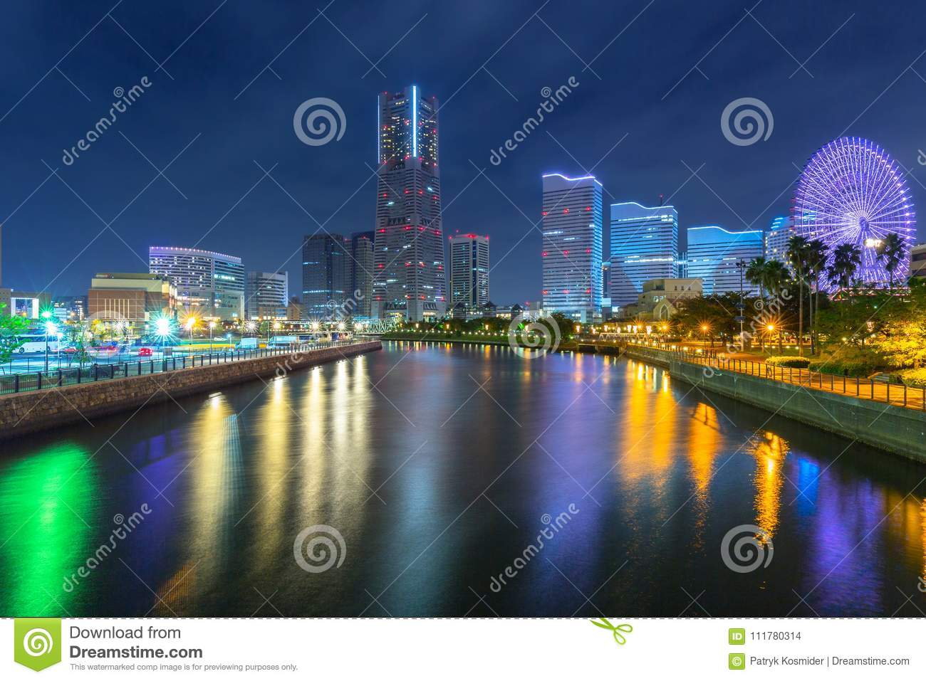 Cityscape of Yokohama city at night