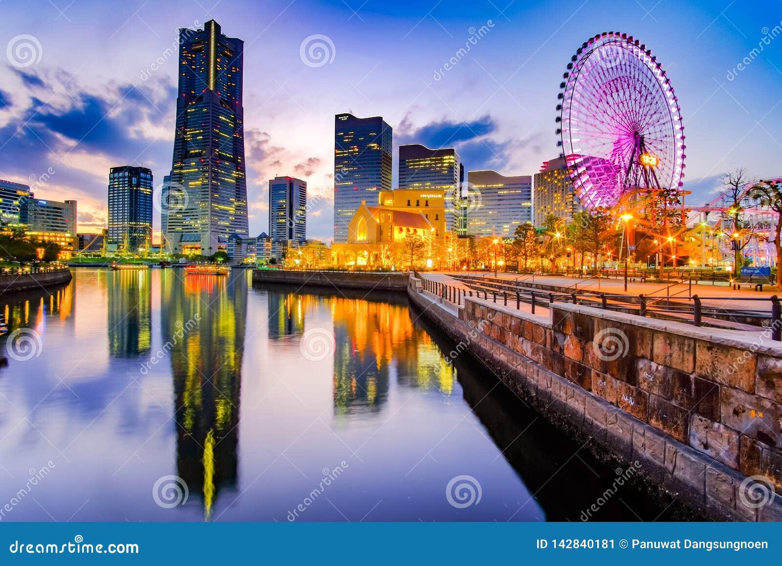 Cityscape of Yokohama Minato Mirai at night. Japan