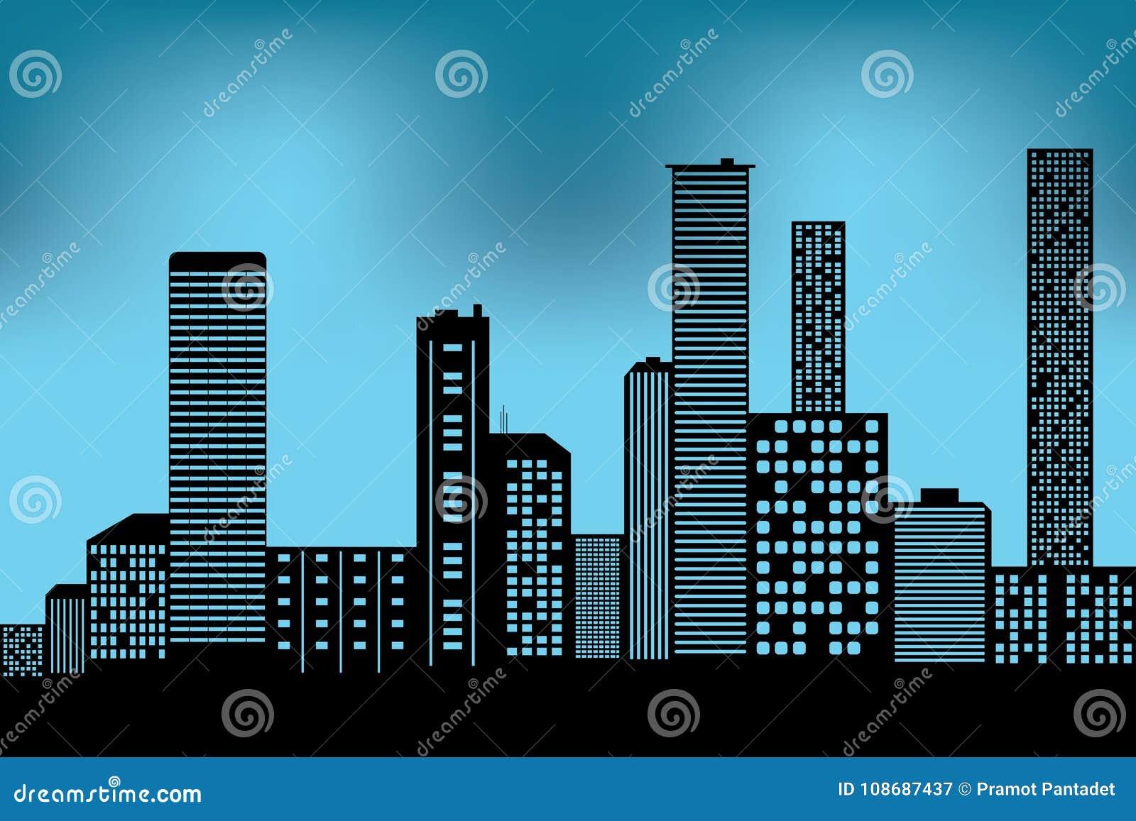 Cityscape zwart architecturaal de bouwpictogram de vlakke stijl van het ontwerpsilhouet op blauwe achtergrondillustratievector