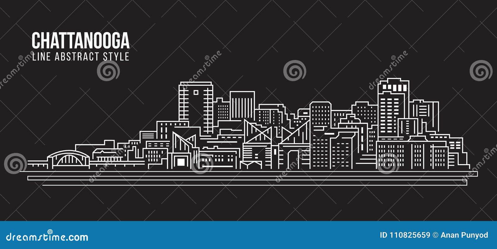 Cityscapebyggnadslinje design för konstvektorillustration - Chattanooga stad
