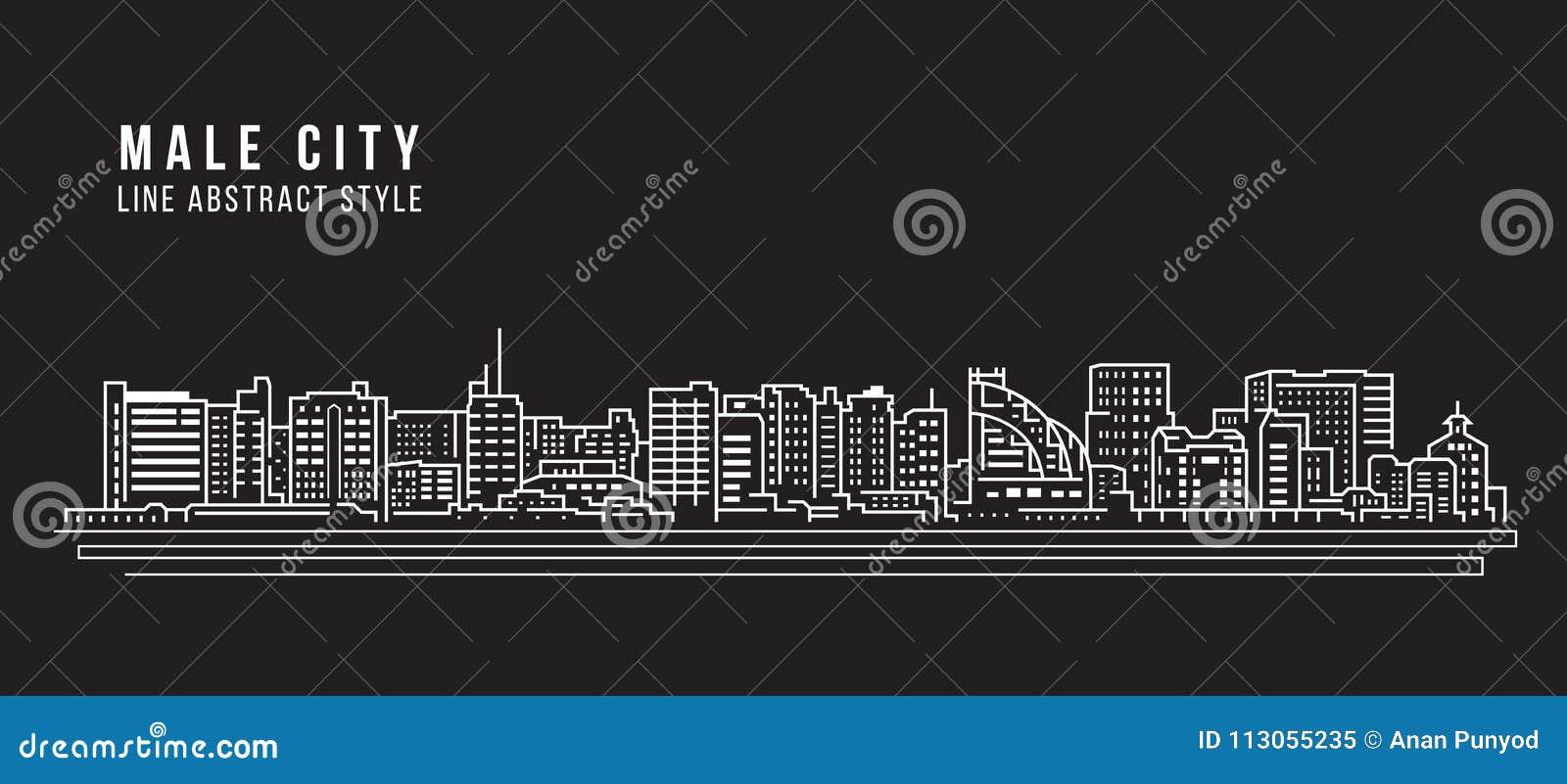 Cityscapebyggnadslinje design för konstvektorillustration - den manliga staden - Maldiverna