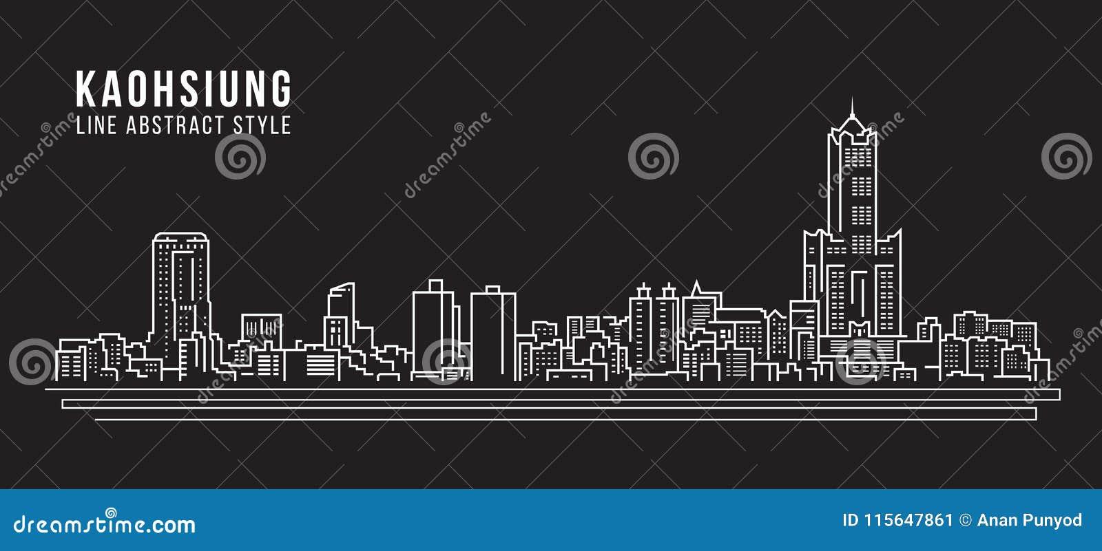Cityscapebyggnadslinje design för konstvektorillustration - Kaohsiung stad