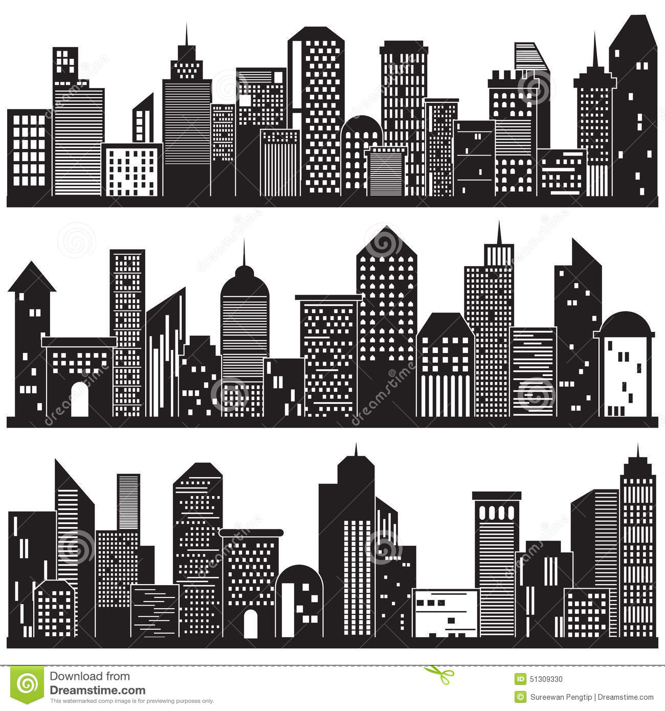 Cityscapes and building silhouettes design stock vector image 51309330 - Black n white designs ...