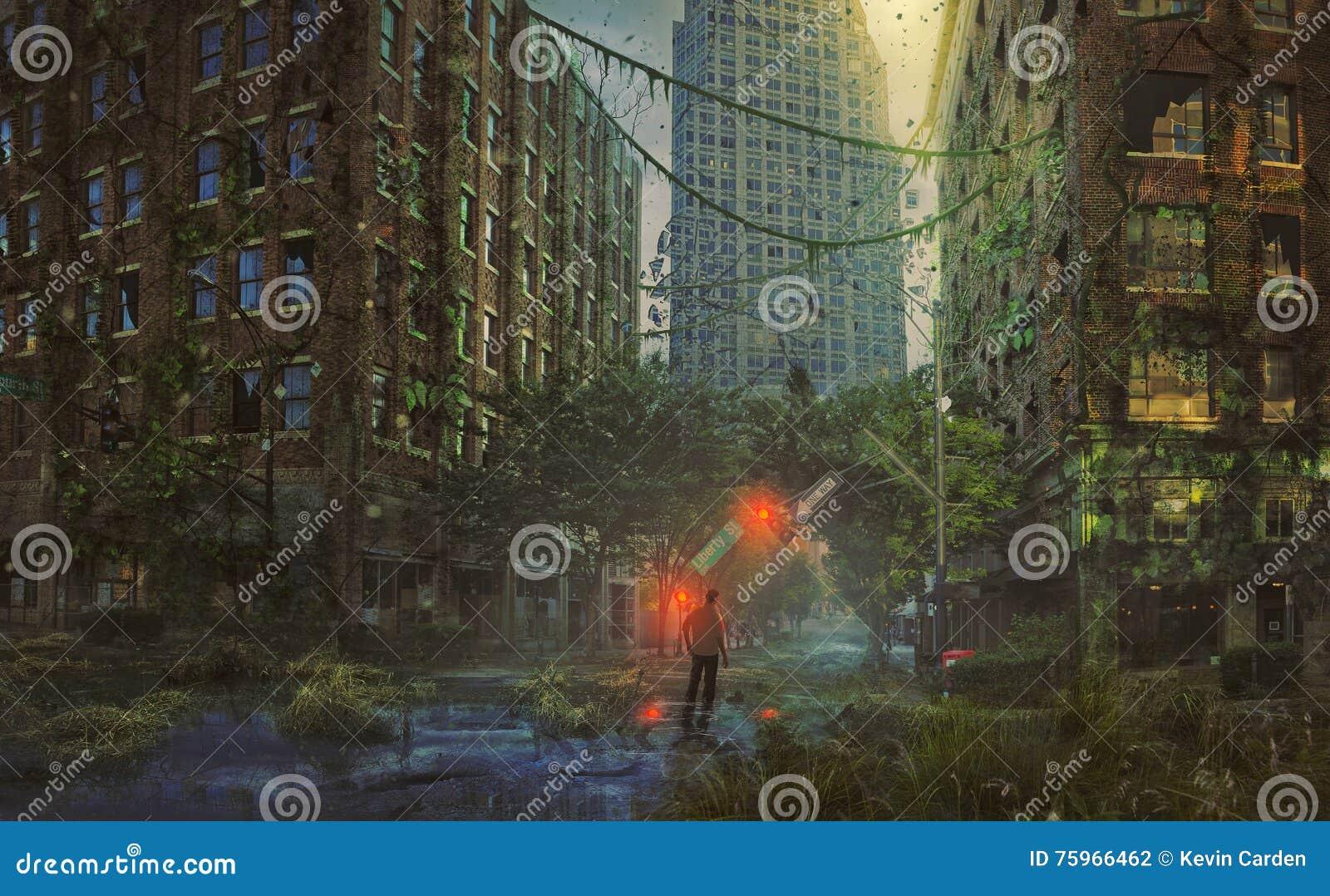 Ciudad abandonada con el hombre