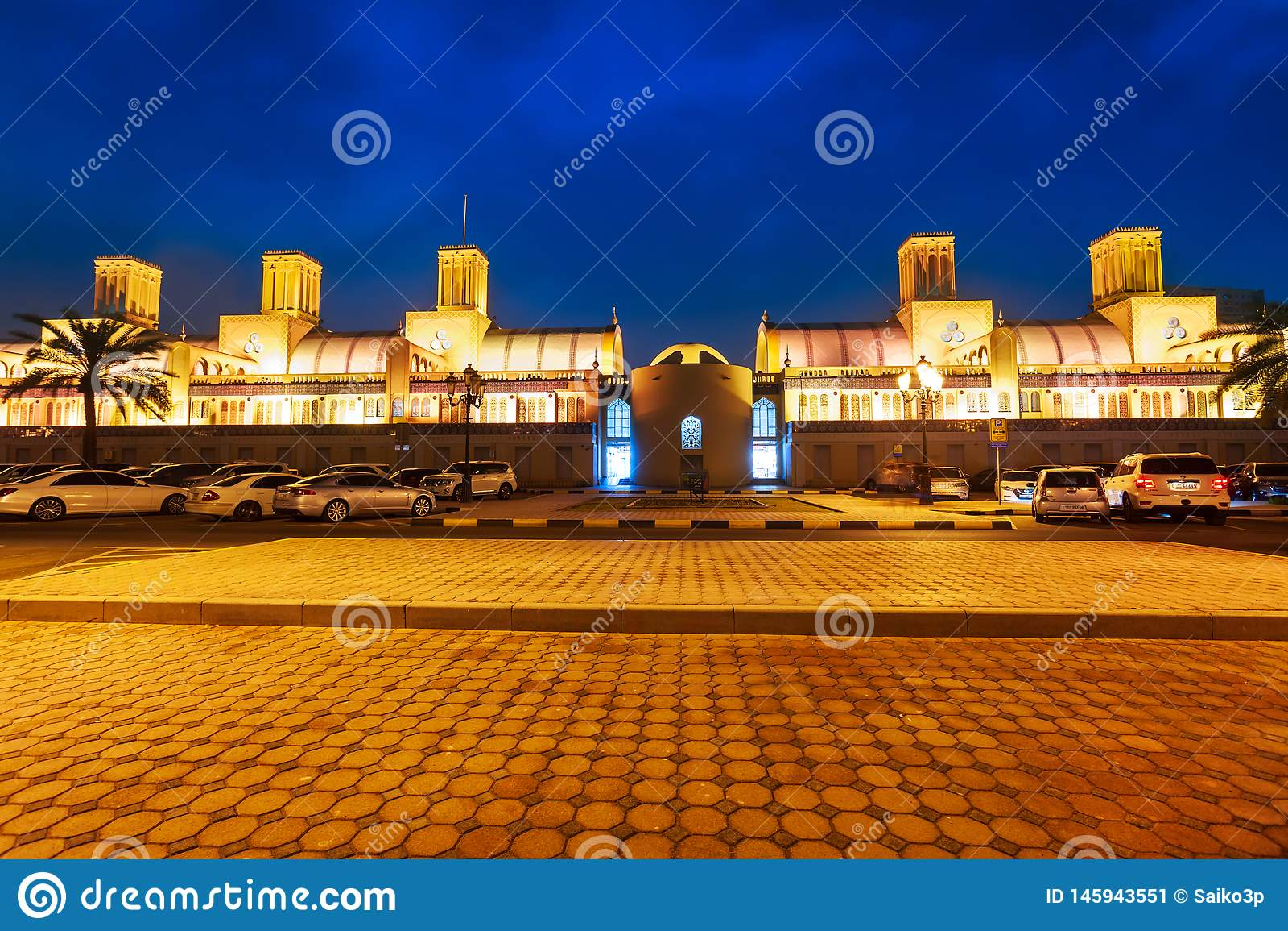 Ciudad azul del mercado central, de Sharja de Souk en United Arab Emirates o UAE