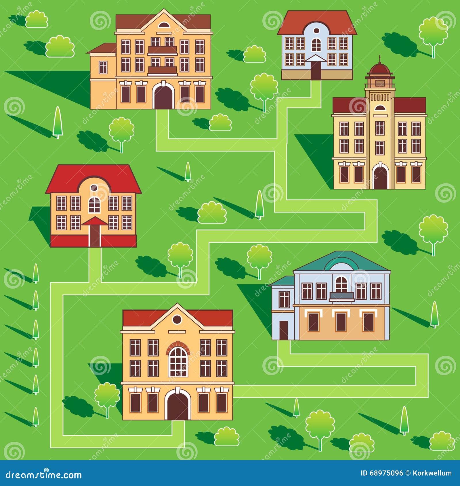 Ciudad con las casas coloridas Modelo inconsútil Ejemplo de la historieta del vector en un fondo verde