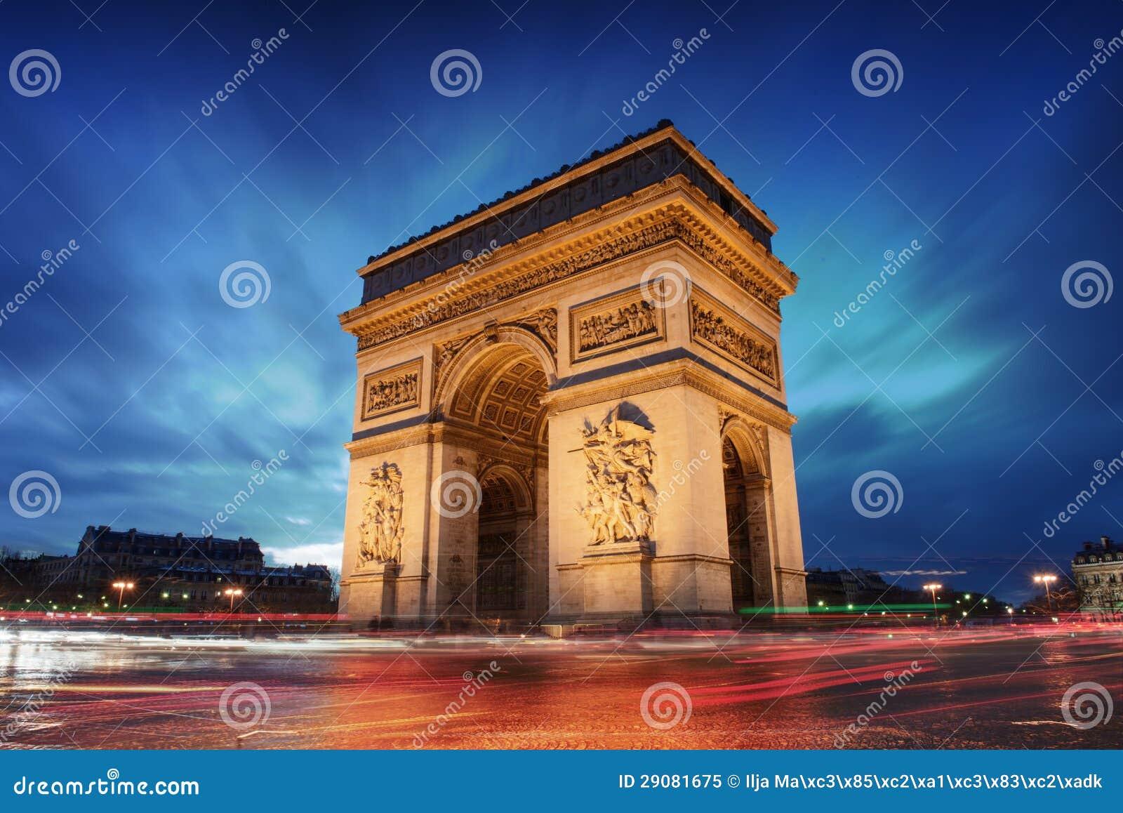 Ciudad de Arco del Triunfo París en la puesta del sol