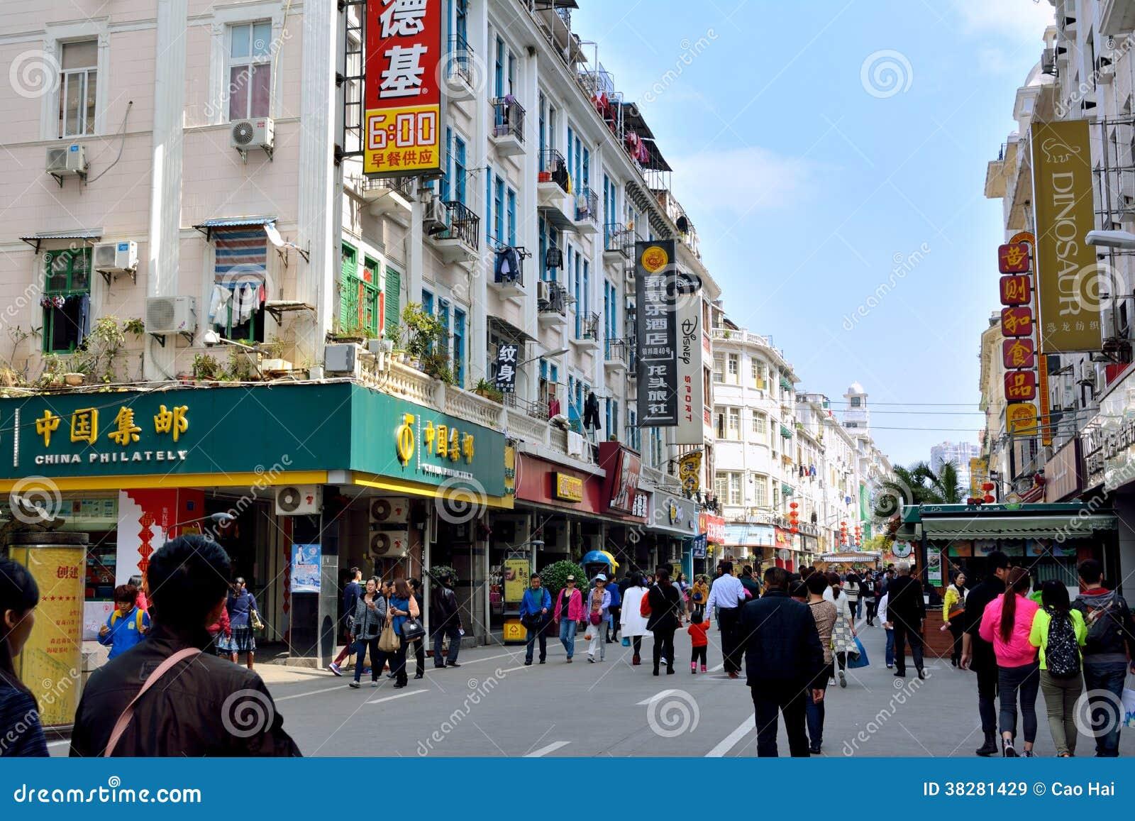 ciudad de china xiamen calle que hace compras 38281429