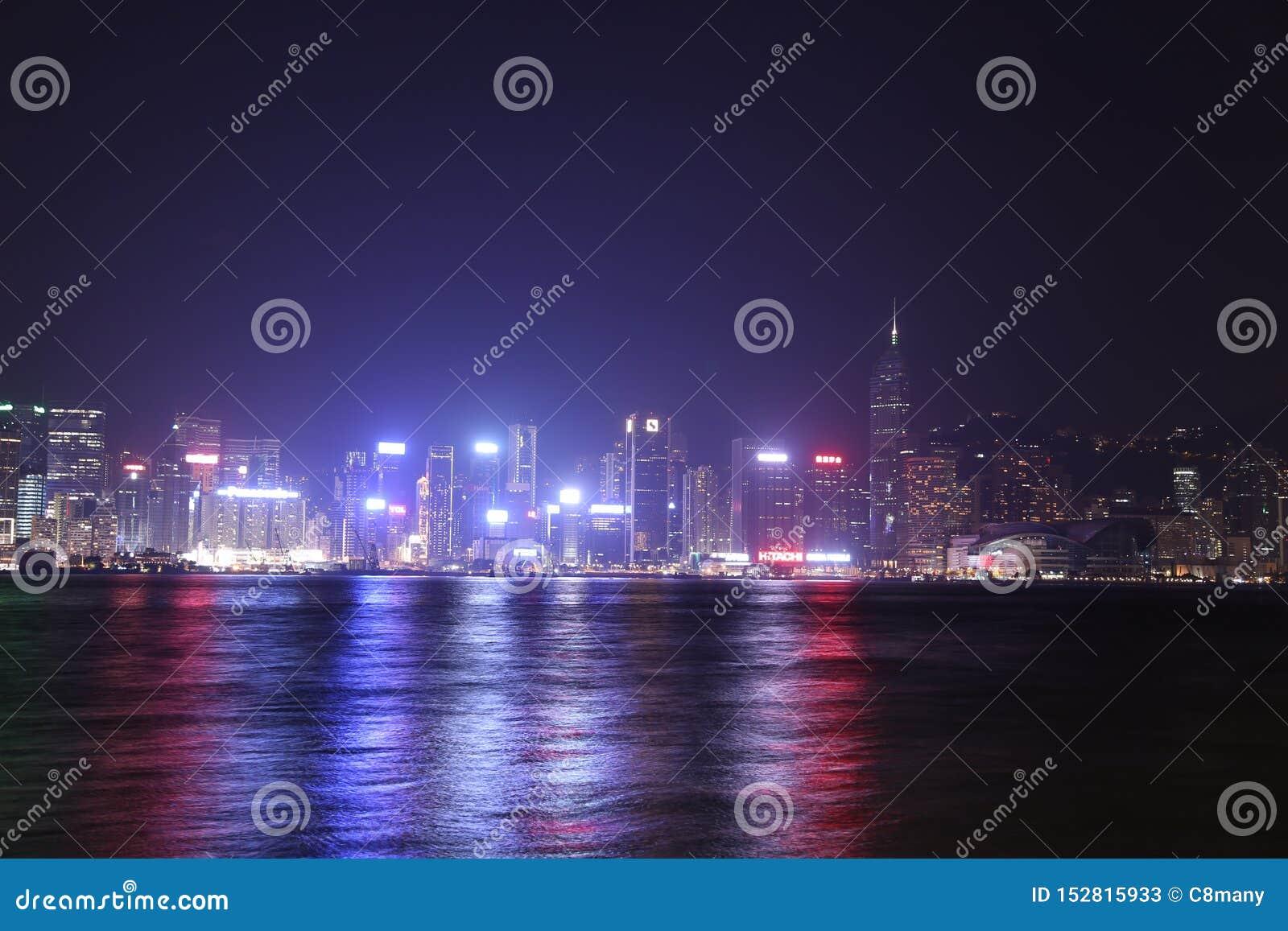 Ciudad de Hong-Kong en la noche