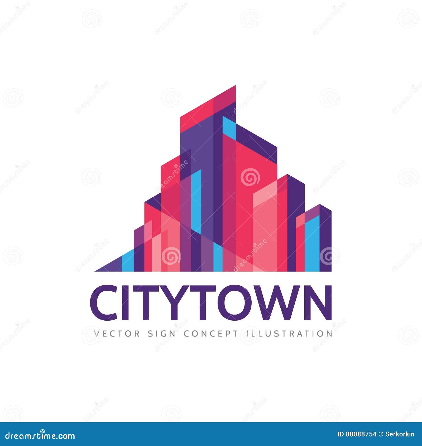 Ciudad de la ciudad - ejemplo del concepto de la plantilla del logotipo de las propiedades inmobiliarias Muestra abstracta del pa
