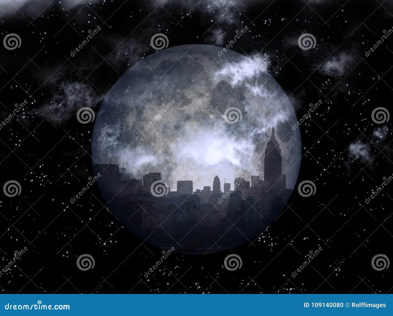 Ciudad de la noche de la Luna Llena