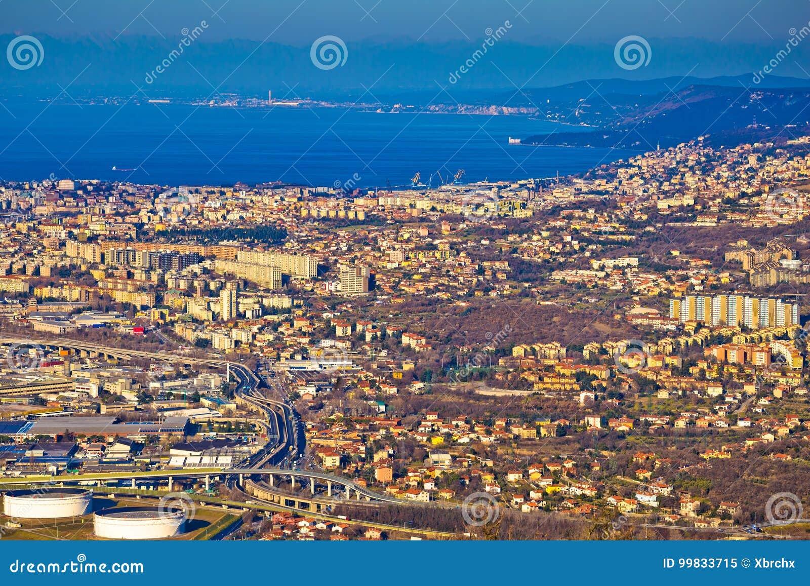 Ciudad de la opinión aérea de Trieste
