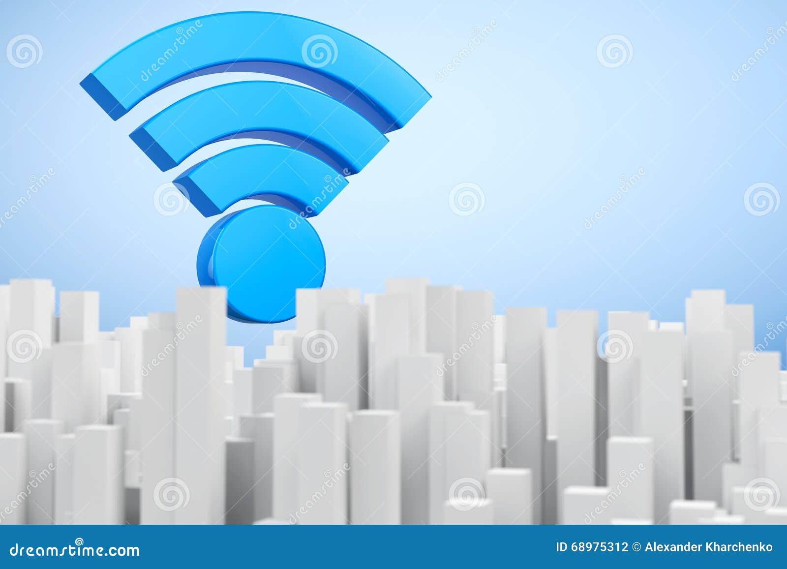 Ciudad del extracto de la comunicación de WiFi