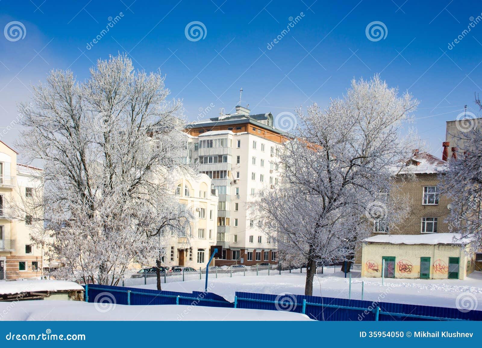Ciudad del invierno con los árboles.